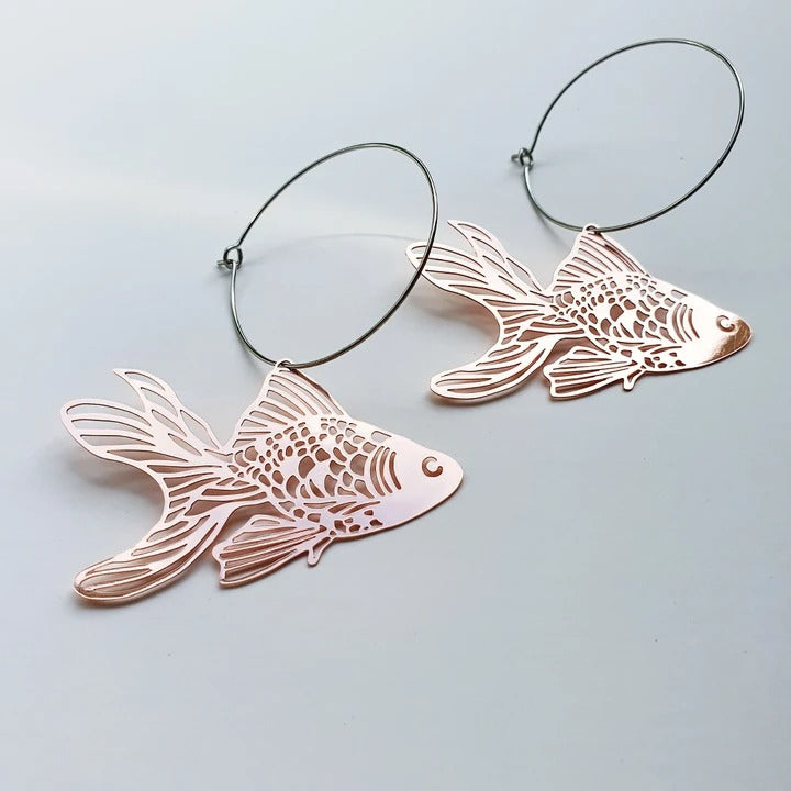 Goldfish hoops rose gold - Pookipoiga