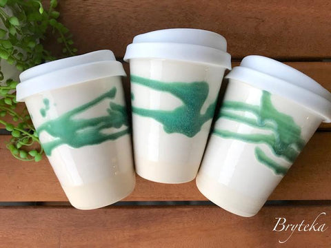 Bryteka Pottery Ceramic Reusable Coffee Cup 10 oz -Coffee Cup Green splash Melbourne