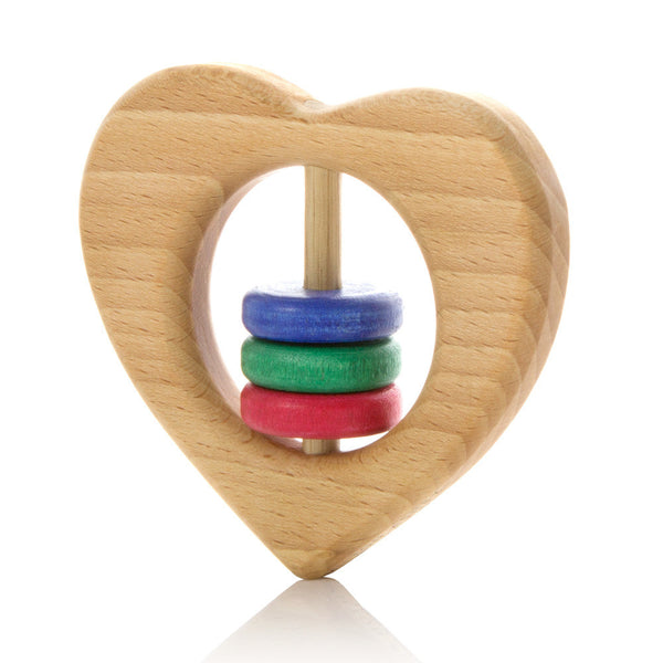 Milton Ashby Wooden Heart Rattle -Baby Coloured beads Melbourne