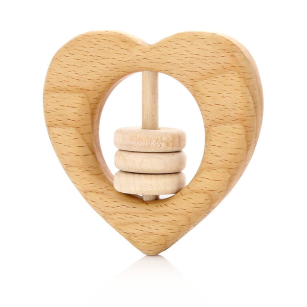 Milton Ashby Wooden Heart Rattle -Baby Natural beads Melbourne