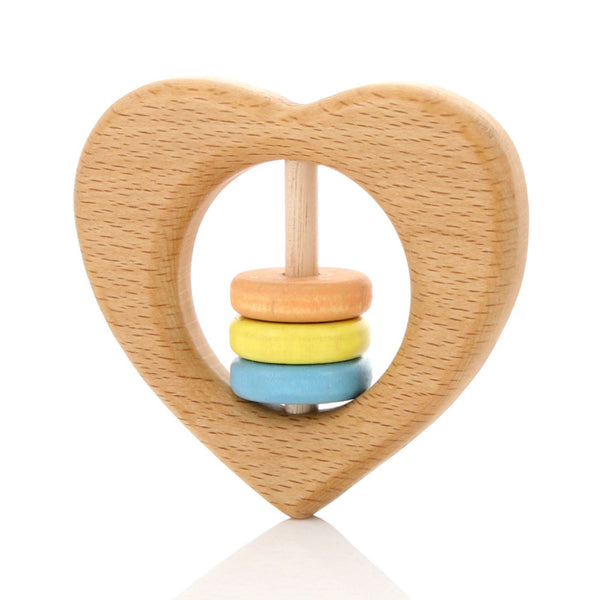 Milton Ashby Wooden Heart Rattle -Baby Pastel beads Melbourne