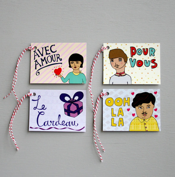French Gift Tags - pack of 8 - Australia