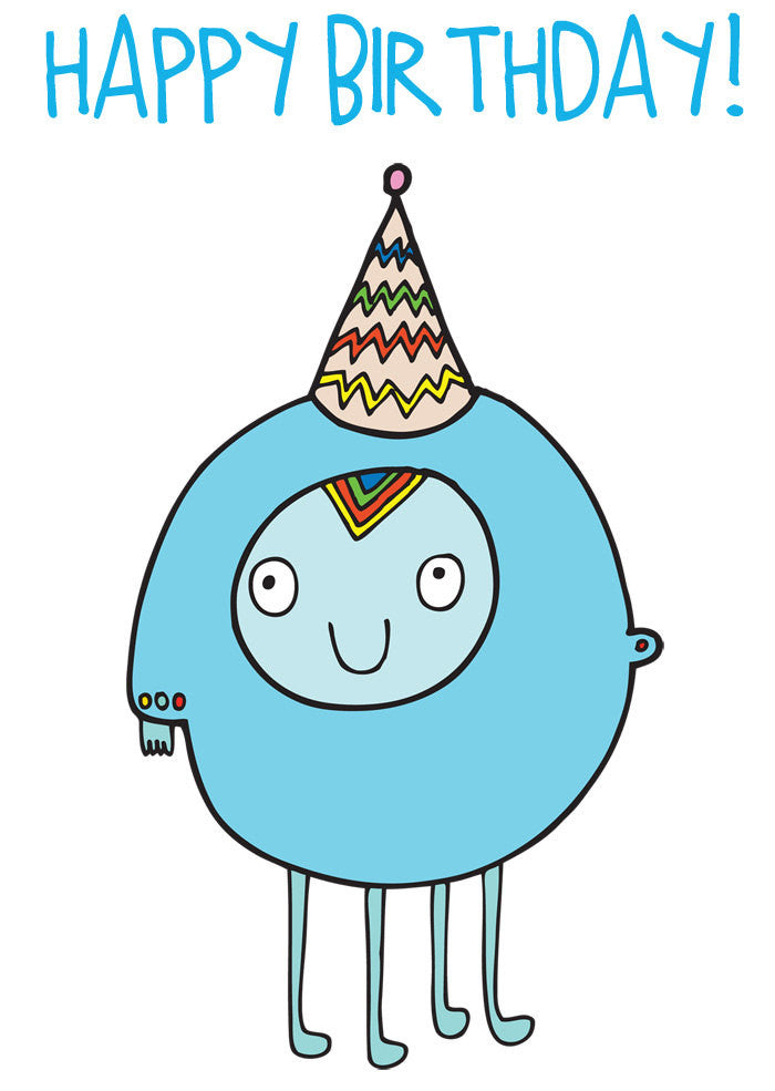 Able and Game Happy Birthday Blue Alien Card -Cards