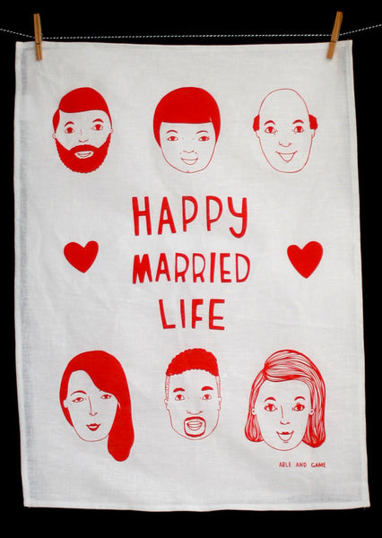 Able-and-game-happy-married-life-tea-towel