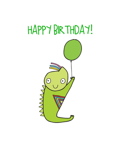 Able and Game Happy Birthday Green Alien Card -Cards Melbourne