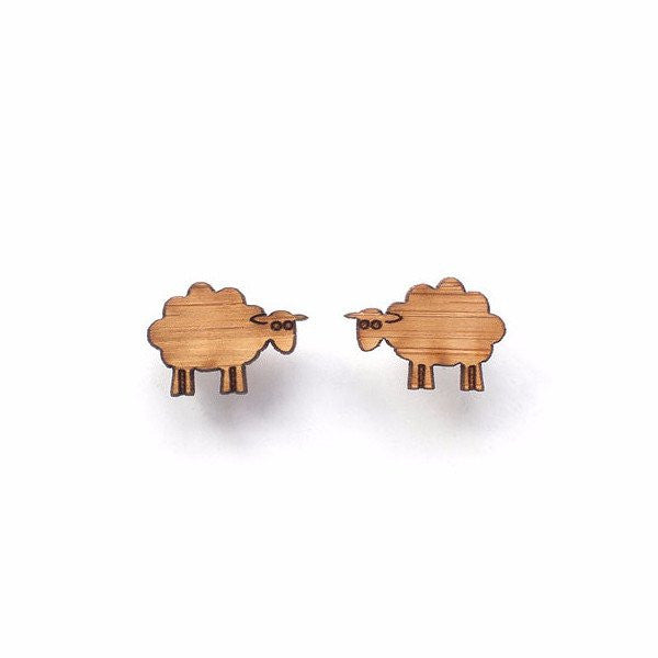 One Happy Leaf Sheep Earrings -Earrings