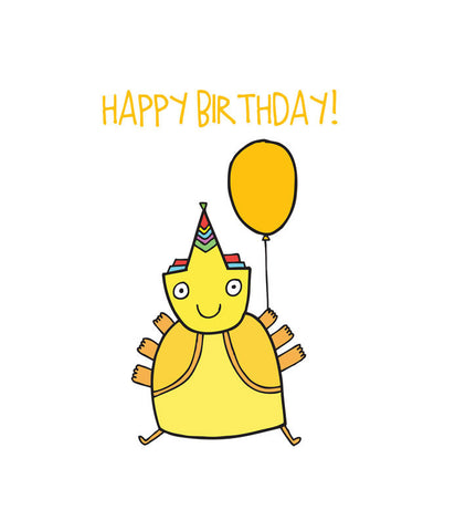 Able and Game Happy Birthday Yellow Alien Card -Cards Melbourne