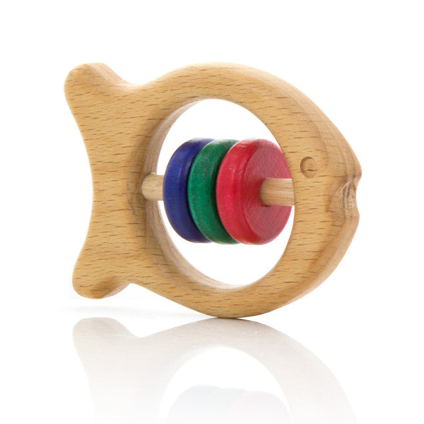 Milton Ashby Wooden Fish Rattle -Baby Coloured beads Melbourne