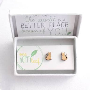 One Happy Leaf - Cat Studs - last minute gift idea - melbourne