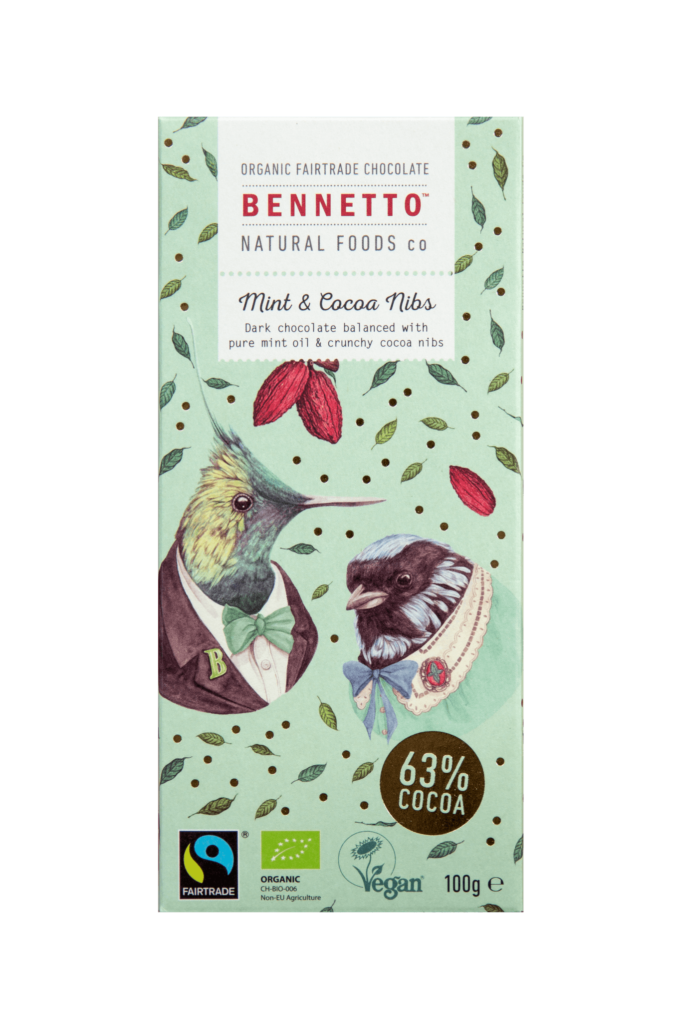 Bennettos Organic Dark Chocolate Mint and Cocoa Nibs 100g -Chocolate