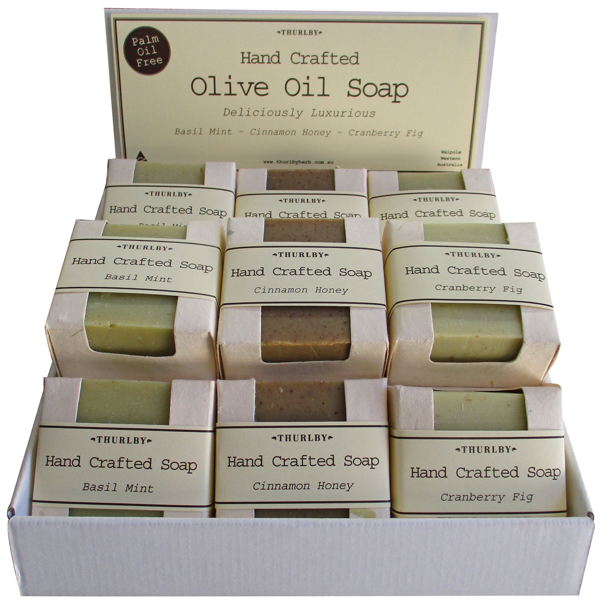 Thurlby Herb Farm Olive Oil Soap in cut out box -Soap