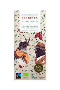Bennettos Organic Dark Chocolate Toasted Hazelnut 100g -Chocolate