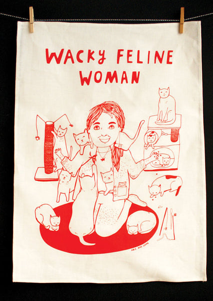 Able and Game Wacky feline woman --- Tea Towel -Tea Towel Melbourne