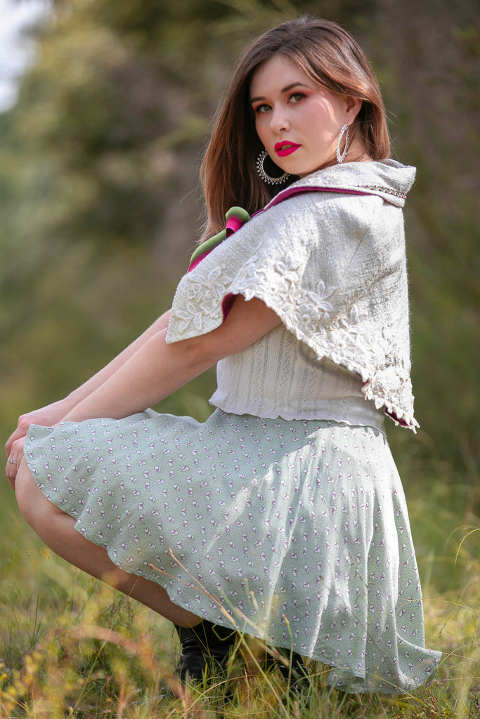 Lace Capelet & Bunny Skirt - Button Fox