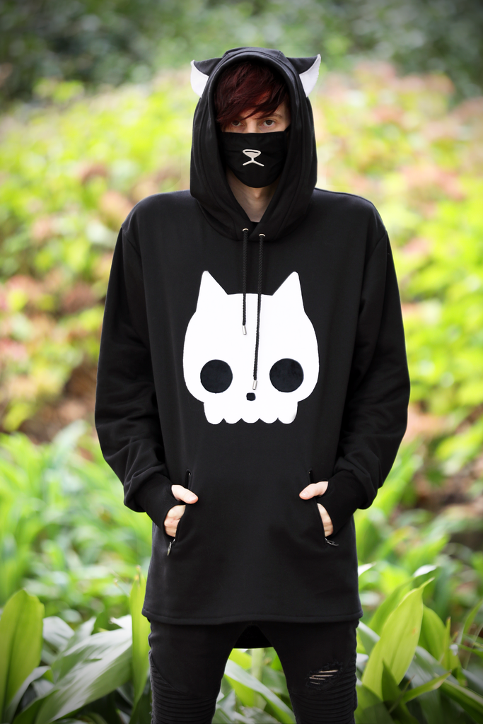 Fox Skull Hoodie (BLCK&WHT) - Button Fox