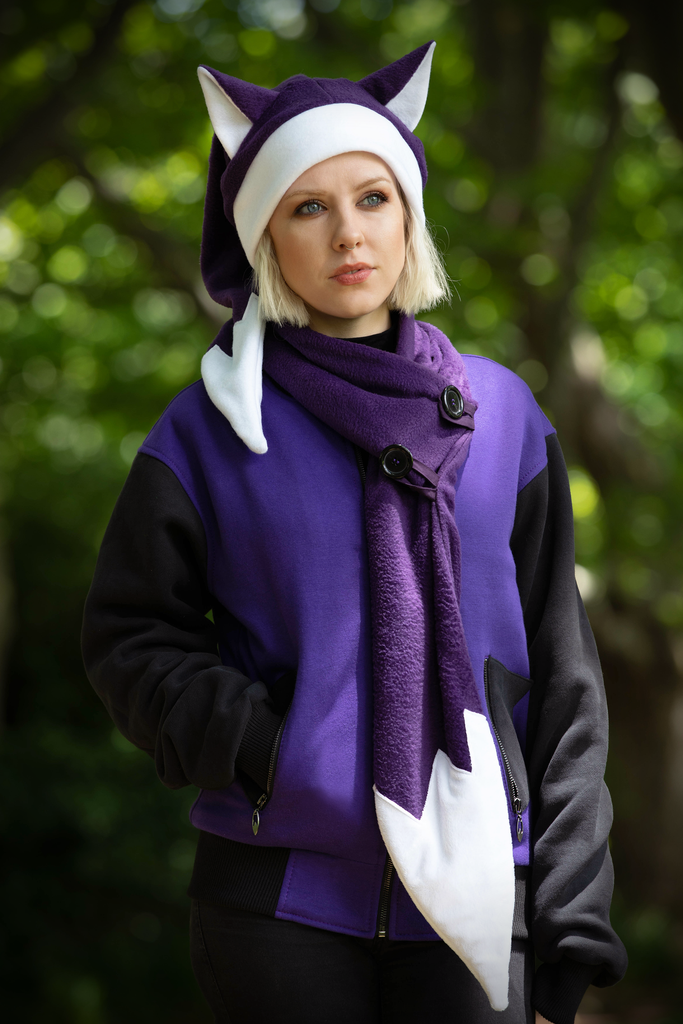Foxmas Hat & Scarf (PRPL) - Button Fox