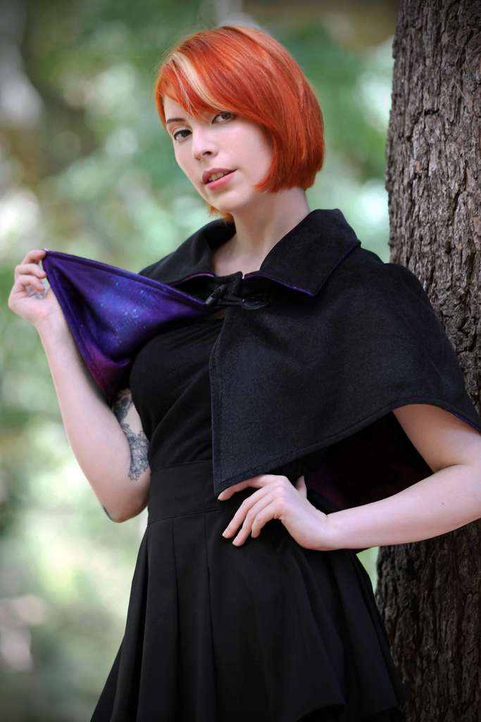 Collared Capelet (BLCK&GLXY) - Button Fox