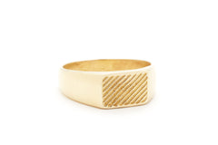 brass geometric pattern signet ring