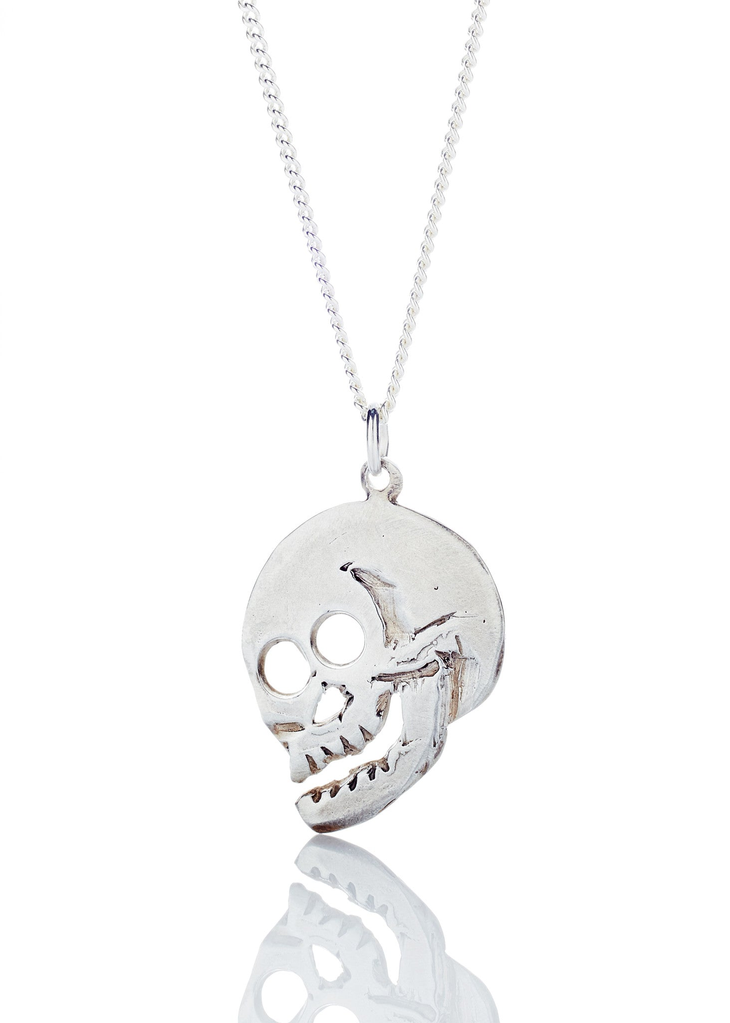 laughing skull necklace in sterling silver