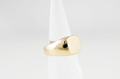 heavy brass initial ring made by Andrew Guenther