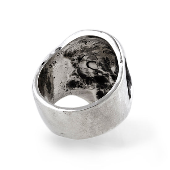 through the skull ring in sterling silver