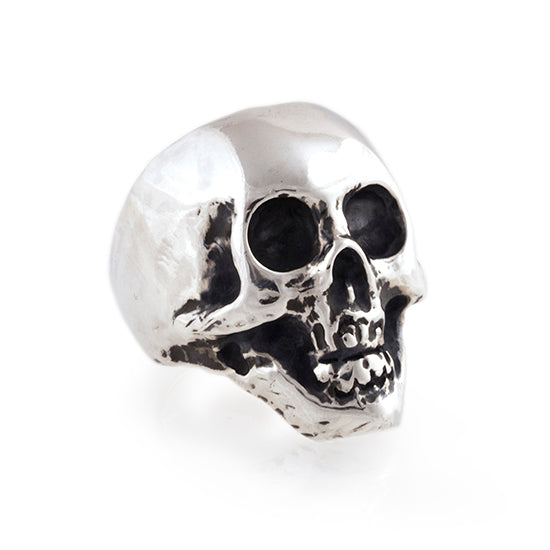 handmade sterling silver skull ring for pinky 3/4 view