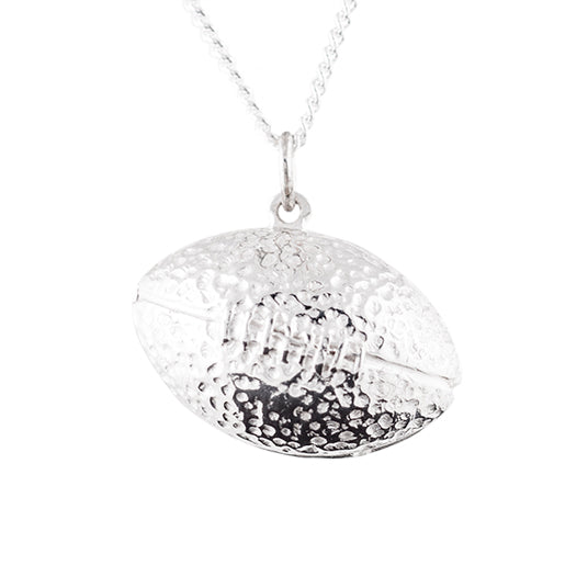 Sterling silver football jewelry charm necklace