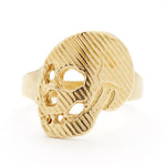 Gold Memento Mori Skull Ring in Brass