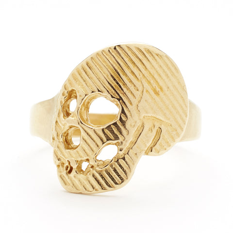 Memento Mori Skull Ring in Brass