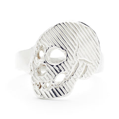 Rotated View Memento Mori Skull Ring in Sterling Silver