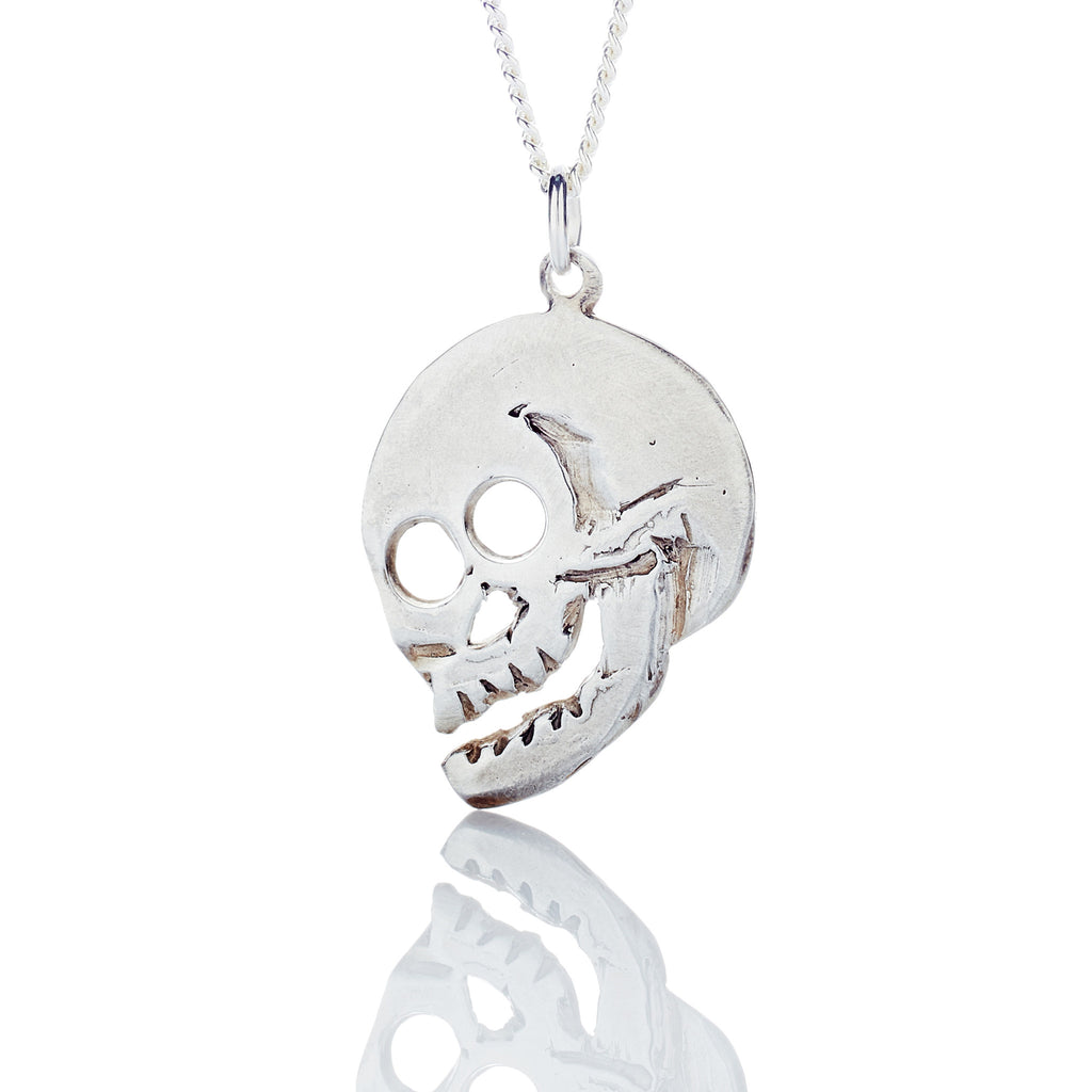 Skull pendant skull necklace eat the leaf 34 profile sterling silver skull pendant necklace mozeypictures Images