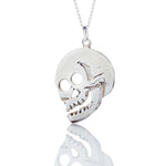 3/4 profile sterling silver skull pendant necklace