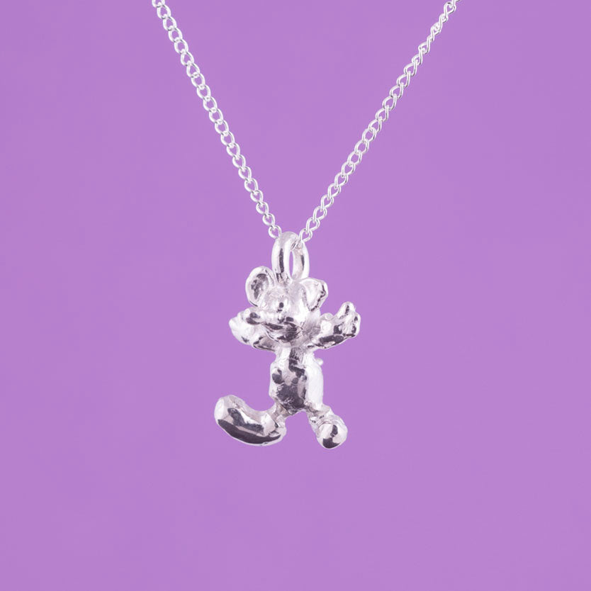 tiny silver mouse necklace