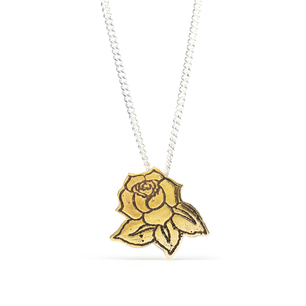 Delicate Rose Pendant in Brass