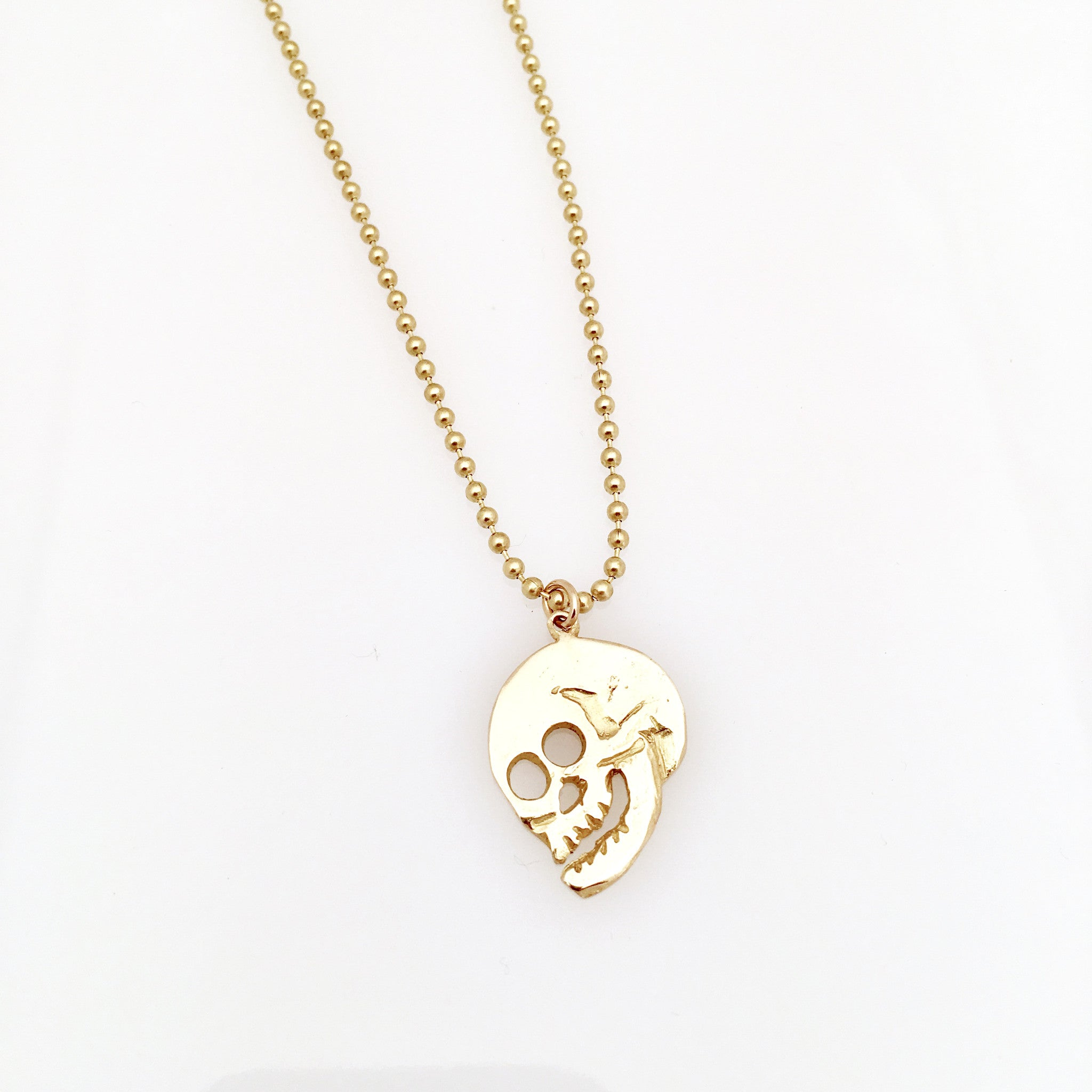 handmade brass skull necklace
