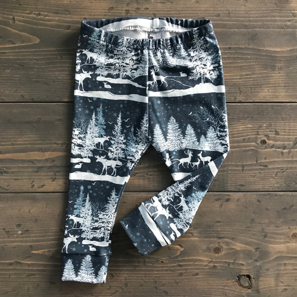 6-12m Organic Leggings {snowy night}