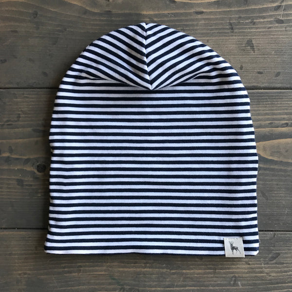 6-12m Slouchy Toque {navy stripe}