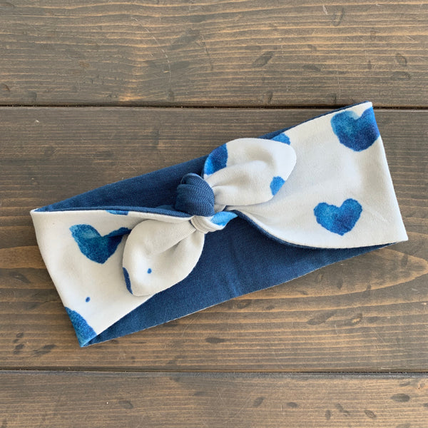 Toddler Knot Headwrap {watercolour hearts}