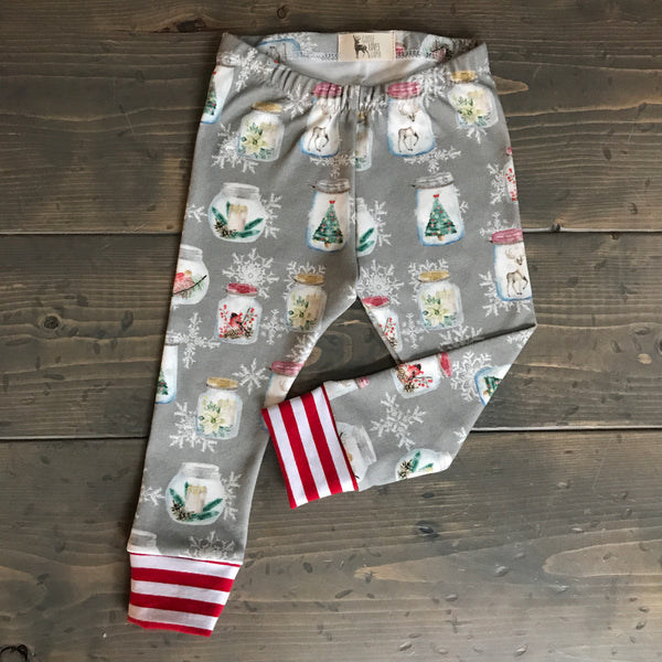 0-3m Organic Leggings {christmas jars}