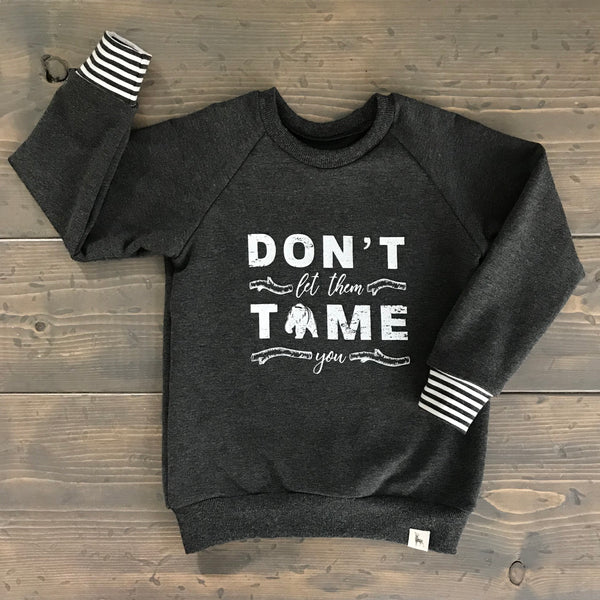 12-24m Raglan Sweatshirt {don't let them tame you}