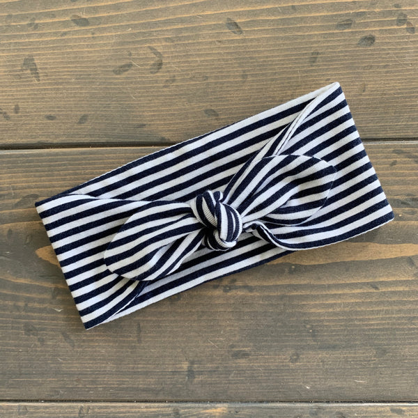 Toddler Knot Headwrap {navy stripe}
