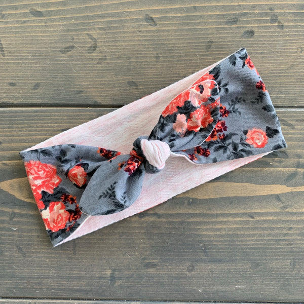 Adult Knot Headwrap {coral floral}