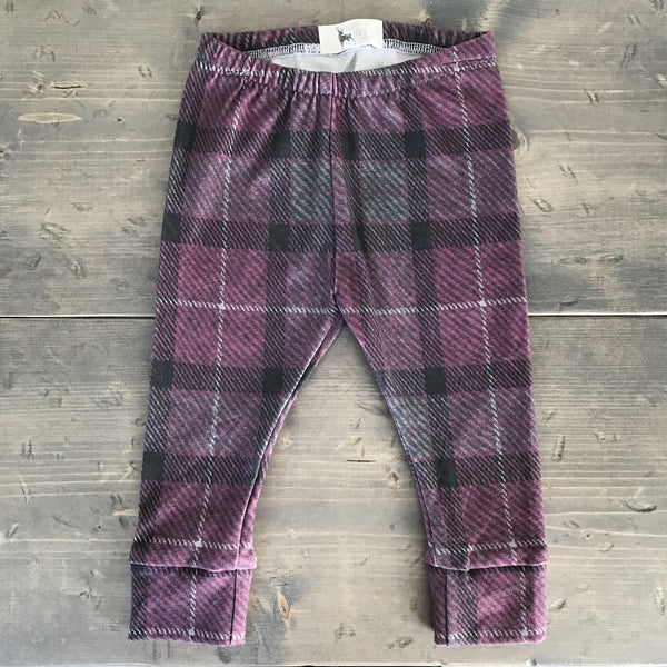 3-6m Organic Leggings {plum plaid}