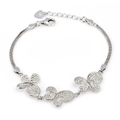 White Gold Plated Mirco Setting Three Butterflies Chain Bracelet - ABC Necklace