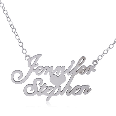 Sterling Silver Two Name Necklace with Heart in Middle - ABC Necklace