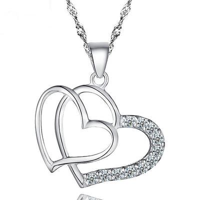 Sterling Silver Heart with Heart Zirconia  Pendant Necklace - ABC Necklace