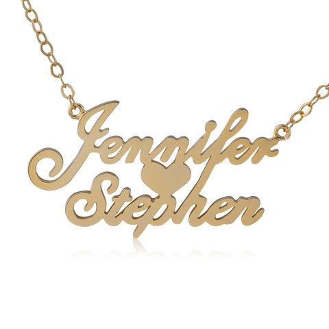 24K Gold Plated Two Name Necklace with Heart in Middle - ABC Necklace