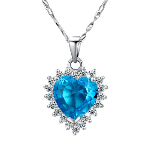 Sterling Silver The Heart of the Ocean Blue Zironia Pendant Necklace - ABC Necklace