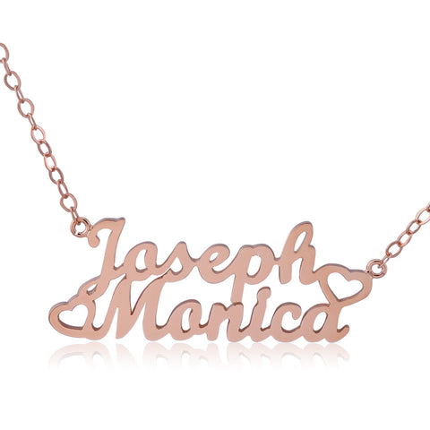 Rose Gold Plated Two Name Necklace with Side Hearts - ABC Necklace