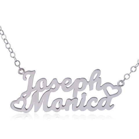 Sterling Silver Two Name Necklace with Side Hearts - ABC Necklace
